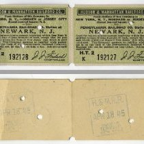 Image of front and back of strip of six tickets