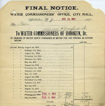 Image of Documents, 2: Final Notice. Water Commissioners' Office, City Hall. Hoboken, N.J. May 24, 1899. - Form