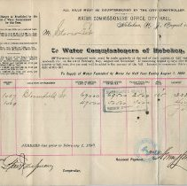 Image of Documents, 2: Water Bill. Water Commissioners' Office, City Hall. Hoboken, N.J. Aug. 1, 1899. - Form