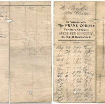 Image of Sales/account record of a Mrs. Bracken(?) at The Frank Cordts Furniture Co. 111 & 133 Washington St., Hoboken, N.J. N.d., ca. 1892-1895. - Record, Sales