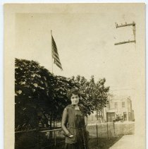 Image of B+W photo of Mary von Artzingen (on Garden St. between 4th & 5th Sts.?), Hoboken, Aug. 27, 1917. - Print, Photographic