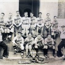 Image of Sepia-tone photograph of Autographic Register Co. baseball team posed on pavilion steps at Columbus Park, Hoboken, n.d., ca. 1935-1945. - Print, Photographic