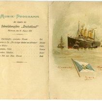 Image of Menu: S.S. Deutschland, Hamburg-Amerika Linie, Wednesday, August 14, 1901.  - Menu