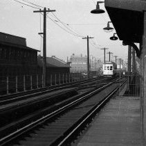 Image of B+W photo negative (mounted) of P.S.C.T. elevated streetcar lines at Washington St. station on Observer Highway (or Ferry St.), Hoboken, n.d., ca. 1939-1949. - Transparency, Slide