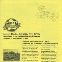 Image of Brochure: Macy*s Studio, Hoboken, New Jersey. An Exhibit at the Hoboken Historical Museum. Nov. 15, 2001-Feb. 24, 2002. - Brochure