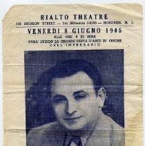 Image of Flier/handbill: Italian stage show presented at The Rialto Theatre, 118 Hudson St., Hoboken, Fri., June 8, 1945. - Flier