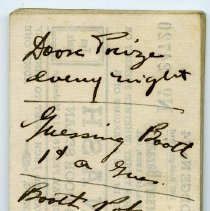 Image of reverse of last ticket with notes