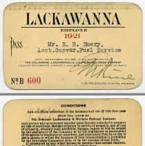 Image of Pass, railroad: Lackawanna, issued to Mr. E.H. Emery, Asst. Supervisor Fuel Service, 1921.  - Pass