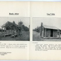 Image of pg [16] Plate XIII; Rustic Arbor; Plate XIV; Log Cabin