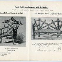 Image of pg [18] catalog: Straight Back Rustic Arm Chair; Newport Log Cedar Settee