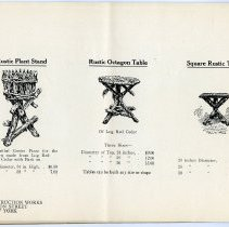 Image of pg [20] catalog: Rustic Plant Stand; Octagon Table; Square Rustic Table