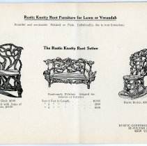 Image of pg [21] catalog: Rustic Knotty Root Settee; Side Chair; Rocker