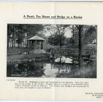 Image of pg [5] Plate IV; A Rustic Tea House and Bridge on a Ravine