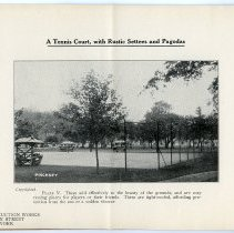 Image of pg [6] Plate V; A Tennis Court with Rustic Settees and Pagodas