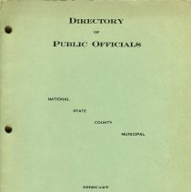 Image of Directory of Public Officials. NATIONAL  STATE  COUNTY  MUNICIPAL. Feb. 1934. Hoboken Chamber of Commerce. 1 Newark St., Hoboken, N.J. - Directory