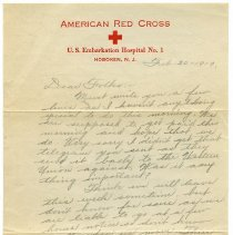 Image of Letter of World War One soldier on stationery of American Red Cross, U.S. Embarkation Hospital No. 1, Hoboken, N.J., February 20, 1919. - Letter