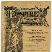 Image of Program: Brüggemann's Empire Theatre, (118 Hudson St.), Hoboken, N.J., for week of March 2-8, 1908. - Program