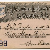 Image of Pass: Delaware, Lackawanna & Western R.R. issued to A.B. Taylor, Supt. Tel. & Sign. West Shore Railroad. 1899. - Pass
