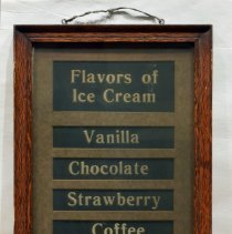 Image of Menu board: Flavors of Ice Cream; from Schnackenberg's Luncheonette, 1110 Washington St., Hoboken, ca. 1932 to 2012. - Sign