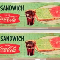 Image of Signs, 5, for sandwiches with Coca-Cola; from Schnackenberg's Luncheonette, 1110 Washington St., Hoboken, N.J., ca. 1953-2012. - Sign