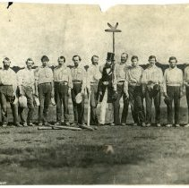 Image of Sepia photo of the Knickerbocker Base Ball Club & Excelsior Base Ball Club plus umpire at Elysian Fields, Hoboken, NJ, Sept. 3, 1859. - Print, Photographic