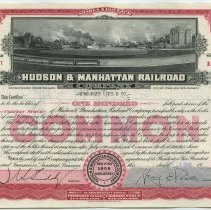 Image of Stock certificate: Hudson & Manhattan Railroad Company. Common Stock; 100 shares, $100 each. No. B47811. Registered Apr. 15, 1949. Transfer Nov. 29, 1950. - Certificate, Stock