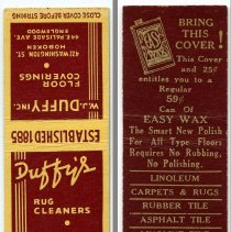 Image of Matchbook: Duffy's Floor Coverings; Duffy's Rug Cleaners. 422 Washington St., Hoboken; 44 E. Palisade Ave., Englewood. N.d., ca. 1940s. - Matchbook