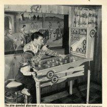 Image of detail pg 60, top photo: Sinatra & daughter Nancy at pinball machine