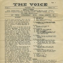 Image of pg 1: The Voice, Vol. 1, No. 3, Sept. 1944