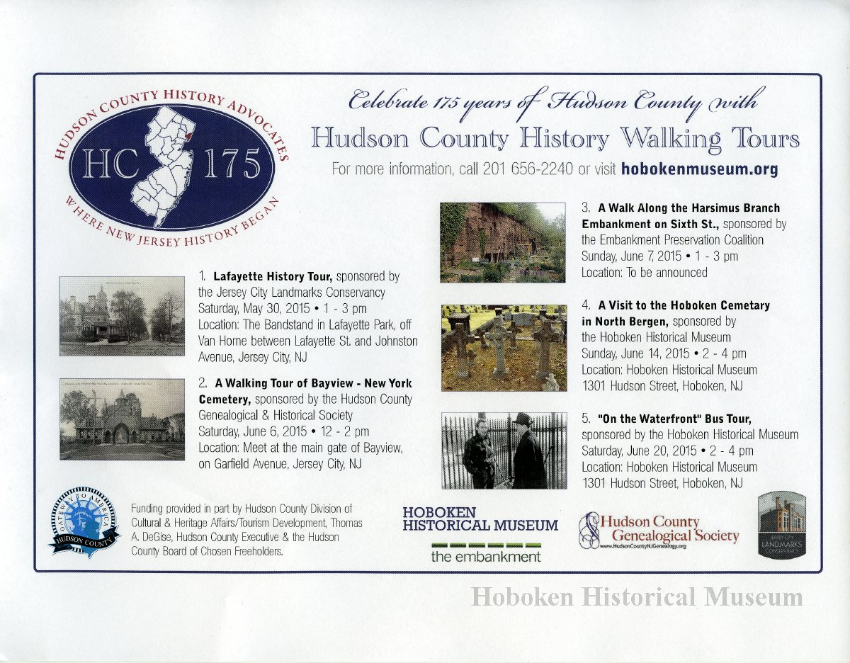 Flier: Hudson County Walking Tours  May-June 2015