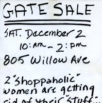 Image of Gate Sale 004. 12-02-1995 805 Willow Avenue