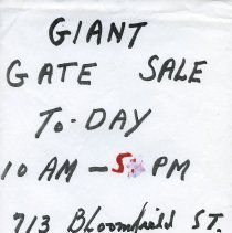 Image of Gate Sale 040. [05-20+21-1995] 713 Bloomfield St.