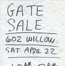 Image of Gate Sale 042. 04-22-1995 602 Willow Ave.