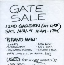 Image of Gate Sale 006. 11-04-1995 1200 Garden St.