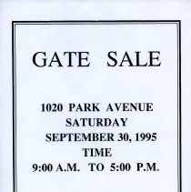 Image of Gate Sale 007. 09-30-1995 1020 Park Ave.