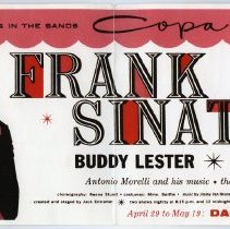 Image of Lobby sign card: Frank Sinatra, Sands, Copa Room