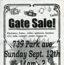Image of Signs, 7, for gate, yard, sidewalk or moving sales, various places in Hoboken, various dates in 1999.