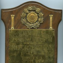 Image of Plaque: V.F.W. Memorial Trophy Marble Contest; Albert Ferri, City Champion, (Hoboken) 1949. - Plaque, Award