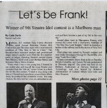 "Image of Sinatra Idol article: ""Let's be Frank! Winner of 9th Sinatra idol contest is a Marlboro Man."" by Carlo Davis, The Hoboken Reporter, June 14, 2015. - Clipping, Newspaper"