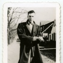 Image of B+W photos, 2, of a young Frank Sinatra, n.p., undated, ca. 1940-1944. Fan club copies. - Print, Photographic