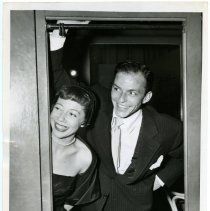 Image of Sinatra photo: Frank Sinatra & Imogene Coca in dressing room at Paramount Theater for benefit event, N.Y., ca. Oct. 3, 1950.  - Print, Photographic