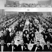 Image of B+W group photo of Testimonial Dinner Tendered to Edward J. Florio, Union Club, Hoboken, N.J., January 29, 1949.  - Print, Photographic