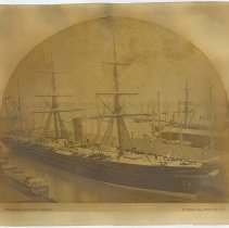 Image of Sepia tone photo of S.S. Russia, British & North American Royal Mail Steam Packet Co., N.Y., n.d., ca. 1867-1870. - Print, Photographic