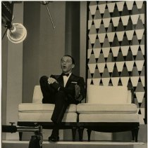 Image of B+W photo of Frank Sinatra singing on set of his TV show, Miami Beach, Florida, ca. May 12, 1960. - Print, Photographic