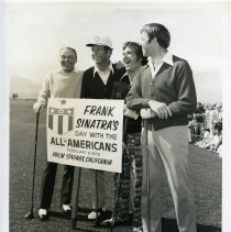 Image of B+W photo of Frank Sinatra with Ken Venturi, Shecky Greene & Alan Shepard on golf course for charity event, Palm Springs, CA, Feb. 6, 1973. - Print, Photographic