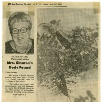 Image of Newspaper clipping: Mrs. Sinatra's Body Found. San Francisco Chronicle, Monday, Jan. 10, 1977. - Clipping, Newspaper