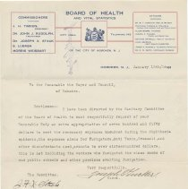 Image of Digital image, typed letter signed: Board of Health to Mayor & City Council requesting extra funds for diptheria epidemic expenses, January 13, 1914. - Letter