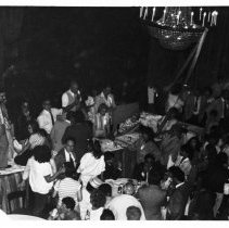 Image of B+W photo of Tom Vezzetti speaking to campaign supporters in Union Club ballroom on election night, Hoboken, [June 11, 1985]. - Print, Photographic