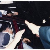 Image of Color photo of mayoral candidate Tom Vezzetti in front seat of car on election night, Hoboken, [June 11, 1985]. - Print, Photographic