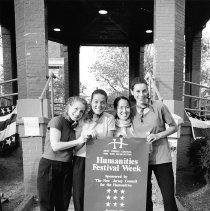 Image of B+W photo of Kitty Clark (at right) and 3 women at Humanities Festival Week activities, Church Square Park, Hoboken, October, 1999. - Print, Photographic